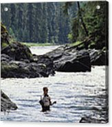 A Man Fishes For Cutthroat Trout In An Acrylic Print