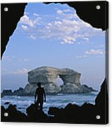 A Man Silhouetted Against La Portada Acrylic Print by Joel Sartore
