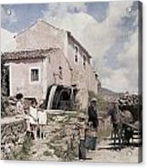 A Man Transports Wood In Terceira Acrylic Print by Wilhelm Tobien