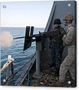 A Marine Fires A .50-caliber Machine Acrylic Print