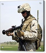 A Marine Looks At A Brand New Acrylic Print