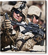 A Marine Shows His Cleared Weapon Acrylic Print