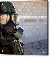 A Marine Wearing A Gas Mask Acrylic Print
