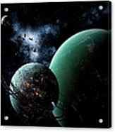 A Massive Space Station Orbits A Large Acrylic Print