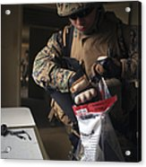 A Military Policeman Collects Materials Acrylic Print
