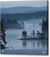 A Misty Forest Lake With A Small Island Acrylic Print