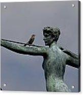 A Mockingbird Sits Atop A Bronze Acrylic Print