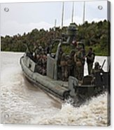 A Navy Riverine Patrol Boat Conducts Acrylic Print