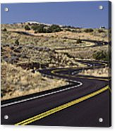 A Newly Paved Winding Road Up A Slight Acrylic Print