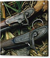 A Pair Of Old Flint-type Rifles Lying Acrylic Print