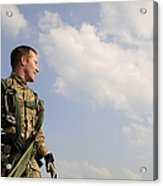 A Paratrooper Looks On As Other Acrylic Print