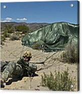 A Paratrooper Recovers After Landing Acrylic Print