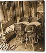 A Parisian Sidewalk Cafe In Sepia Acrylic Print by Jennifer Holcombe