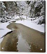 A Partially Frozen Stream Runs Acrylic Print