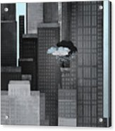 A Person On A Skyscraper Under A Storm Cloud Getting Rained On Acrylic Print