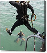 A Photographer Documents A Navy Diver Acrylic Print