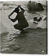 A Photographer Processes Film Among Ice Acrylic Print