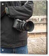A Photographer With His Digital Camera On Location At A Historical Monument Acrylic Print