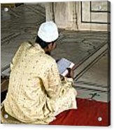 A Pious Devotee Reading The Quran Inside The Jama Masjid In Delhi Acrylic Print