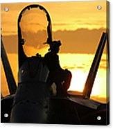 A Plane Captain Enjoys A Sunset Acrylic Print