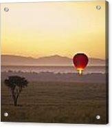A Red Hot Air Balloon Takes Flight Acrylic Print