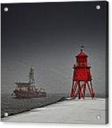 A Red Lighthouse Along The Coast In Acrylic Print