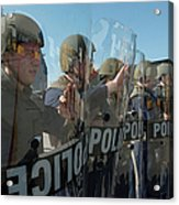 A Riot Control Team Braces Acrylic Print by Stocktrek Images