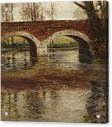 A River Landscape With A Bridge  Acrylic Print