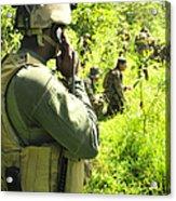 A Riverine Soldier Radios In Mock Acrylic Print