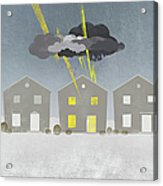 A Row Of Houses With A Storm Cloud Over One House Acrylic Print