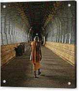 A Sadu Walks Through Rameswaram Temples Acrylic Print