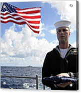 A Sailor Carries The National Ensign Acrylic Print