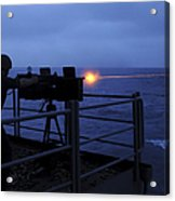 A Sailor Fires A .50-caliber Machine Acrylic Print