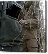 A Scout Observer Applies Camouflage Acrylic Print by Stocktrek Images
