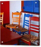 Colorful Table And Chairs Greece Acrylic Print