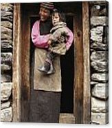 A Smiling Bhutanese Woman And Child Acrylic Print