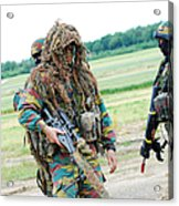 A Sniper Of The Belgian Army Together Acrylic Print