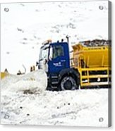 A Snow Plough Clearing A Road Acrylic Print by Duncan Shaw