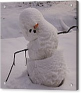 A Snowman Sitting In The Snow Acrylic Print
