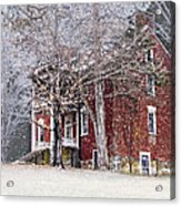 A Snowy Night Acrylic Print by Kathy Jennings