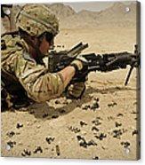 A Soldier Clears The Mk-48 Machine Gun Acrylic Print