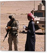 A Soldier Communicates With A Local Acrylic Print