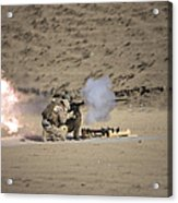 A Soldier Fires A Rocket-propelled Acrylic Print