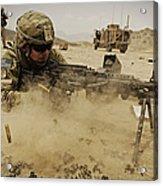 A Soldier Firing His Mk-48 Machine Gun Acrylic Print