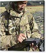 A Soldier Inputs The Firing Data Acrylic Print