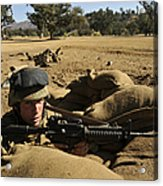 A Soldier Mans His Position At Fort Acrylic Print