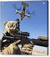 A Soldier Provides Security As An Mv-22 Acrylic Print