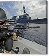 A Soldier Provides Security In A Rigid Acrylic Print
