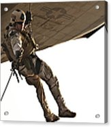 A Soldier Rappels From An Mh-60s Acrylic Print