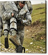 A Soldier Transports A Fellow Wounded Acrylic Print